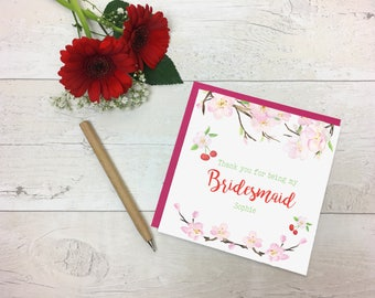 Thank you Bridesmaid - Cherry Blossom Thank you Bridesmaid Card - Bridesmaid Card - Thank you card - Thank you wedding card- Wedding