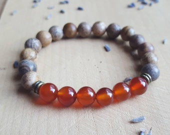 Carnelian Stone Bracelet Sacral Chakra Bracelet 2nd Chakra Carnelian Jewelry Gemstone Bracelet Yoga Bracelet Healing Stone Crystal Bracelet