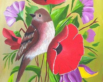 "Original Acrylic Painting Bird Painting, Bird Art with Flowers Painting, 9x12""  by Michael Hutton"