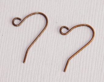 100 pcs of antiqued copper earrings hook 20X11mm