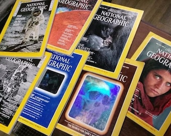 Lot of 7 Historically Significant/Iconic National Geographic Magazines
