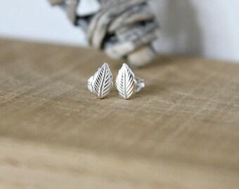 Sterling Silver Leaf Studs, Handmade, Earrings, Leaf Earrings, Silver leaf earrings, Silver Studs