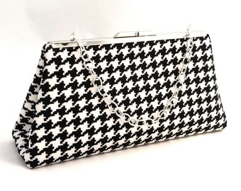 Black and White Houndstooth Purse ~ Black Purse ~ Black Handbag Clutch ~ Black and White Classic Houndstooth
