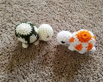 Tiny Turtle, turtle toy, mini turtle, reptile plush, crochet turtle, baby shower gift, sea creature, tortoise plush, Easter Basket