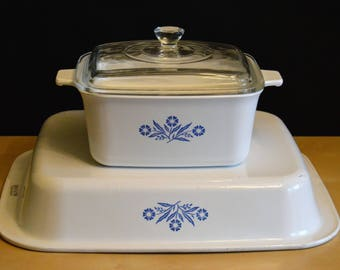 Corning Ware Baking Bundle, 1) A-21 Lasagna Pan 12 x 10, 1) P-4-B 1.5 Qt Rectangle Casserole Dish with Pyrex Lid, CORNFLOWER BLUE