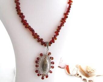 Autumn Tone Ooak Briolette Necklace