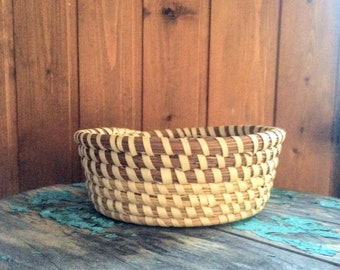 Vintage Sweetgrass Basket South Carolina Low Country Handmade Basket Vintage Gullah Basket