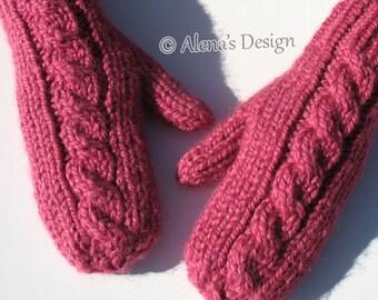 Cabled Mittens For All in seven sizes Knitting Pattern 202 Toddler Child  Teen Adult Children Girls Boys Women Men Winter Christmas Gift