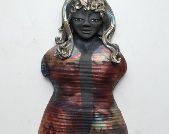 Kwan Yin Wall Hanging in Raku Ceramics