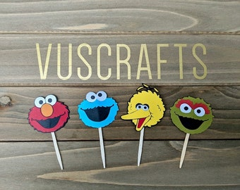 12 Sesame Street Cupcake Toppers, Birthday Party Cupcake Toppers, Elmo, Big Bird, Cookie Monster, Birthday, First Birthday, Baby Shower