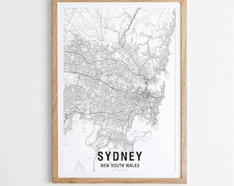 Sydney Map Print - Black & White / Map / Australia / City Print / Australian Maps / Giclee Print / Poster