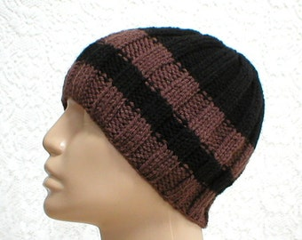 Black brown striped beanie hat, toque, mens womens knitted hat, striped hat, skull cap, black brown hat, beanie, chemo cap - Made to Order