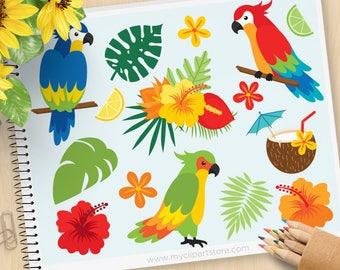 Parrots Clipart, Tropical Birds, Palm Leaves, Beach, tropical plants, cocktail, coconut, hibiscus, Commercial Use, Vector clip art, SVG Cut