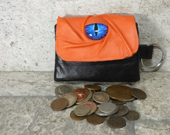 Zippered Coin Purse Orange Black Leather Change Purse Monster Face Pouch Key Ring 241