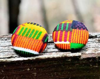 Kente Cloth Button Earrings