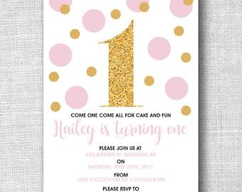 Gold Glitter First Birthday Invite, Pink & Gold First Birthday Invite, DIY Printable Invite, Girly First Birthday Invite, Glitter Invite