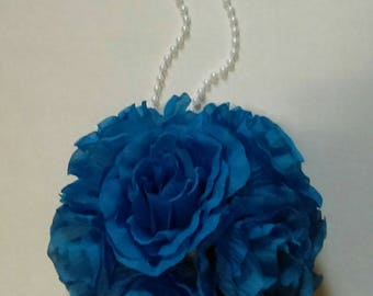 "Royal Blue Rose Flower Pomander Kissing Ball 6.5"" to 7"" Pew Bow / Bouquet / Centerpiece Decor"