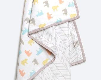 Curious Bear-Organic Cotton Baby Blanket, Bear Baby Blanket, Gender Neutral Baby Gift, Baby Blanket, Baby Shower Gift, Organic Baby Blanket