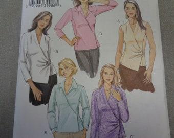 Sz 18/20/22 - Vogue Blouse Pattern V8120 - Misses' Princess Seam, Surplice Blouse in Five Variations - Vogue Basic Design Patterns