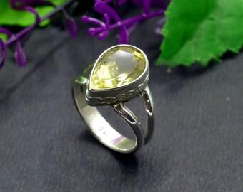Natural Lemon Topaz Pear Gemstone Ring 925 Sterling Silver KJR23