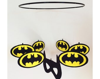 Handmade Batman inspired Superhero nursery mobile