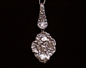 "Large old Sterling Silver vintage pendant Charm 18"" assemblage necklace ornate cameo Marie Antionette heavy solid"