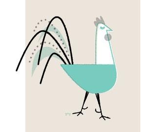Rooster Poster, Chicken Art Print, Kitchen Wall Art, Chicken Lover Gift, Chicken Art