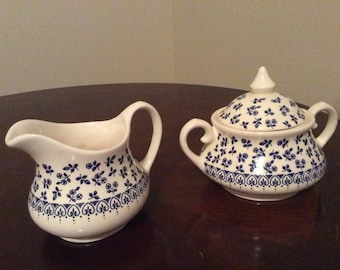 English Country Cottage StaffordShire Ironstone  Sugar and Creamer Set with Lid.