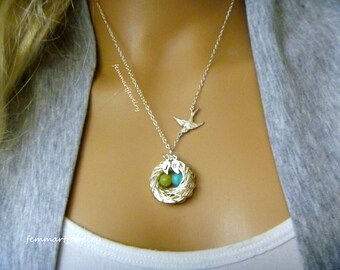 Bird Nest Necklace - Birth Stone Eggs - Egg and nest necklace - Mother's Day Gift - Mother of the Bride - Mommy Necklace - femmart