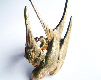 Bird Ring Brass Swallow Adjustable -Art Nouveau, Tattoo, Steampunk Free Shipping Worldwide
