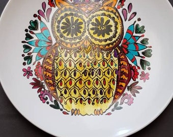 Large hand painted Owl plate