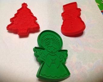 Vintage set of 3 plastic Christmas Hallmark cookie cutters