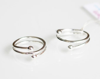 Sterling Silver Midriff or Pinkie Double Ball Ring