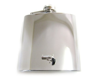 Hand Gun 6 oz. Stainless Steel Flask