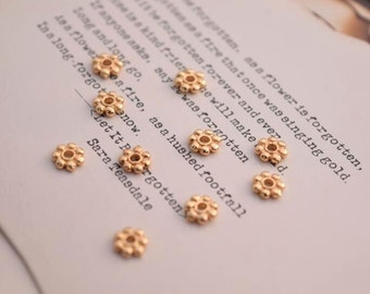 10 of 14K gold filled tiny flower spacer beads 6mm MX05