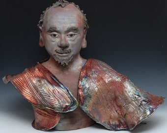 Large Buddha Statue With a Goatee Modern Art Figure Sculpture Wabi Sabi style Raku Ceramics by Anita Feng