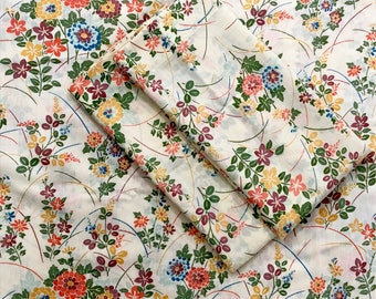 Vintage Thomaston Muslin Flat Sheet and Pillowcase Set // Floral Sheet Set // 1970's