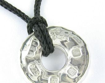 Chunky Handmade Sterling Silver 'Millstone' Pendant with Display Hallmark. John Fox