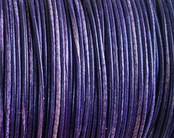 1mm Purple Leather Cord - Violet Leather Cord - 2 Meters - 2.56 Yards - Buy 6 Meters Get 1 Meter Free - Buy 10 Meters Get 2 Meters Free