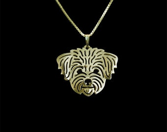 Havanese (in puppy/pet haircut) - gold pendant and necklace
