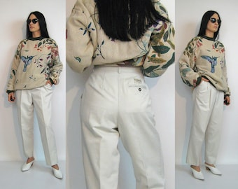 Off White Twill Trousers / 28 x 27 Pants / Vintage 80s Off White Cotton Twill Pants / Pleated Tapered Trousers / Baggy Trousers
