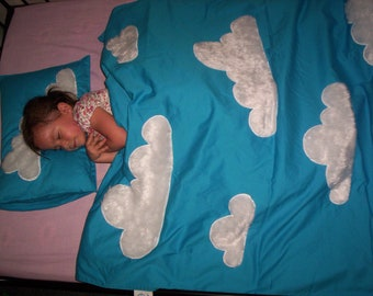 Custom-made Cloud & Sky Quilt Cover with Matching Pillow, Blanket/ Doona and Pillow Cover (Queen Bed Size)