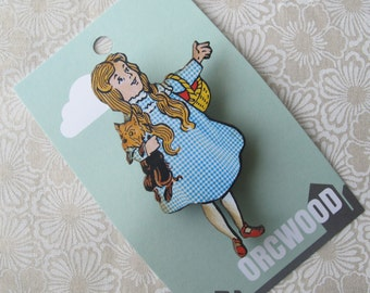 Wood Brooch - Dorothy and Toto (Wizard of Oz)