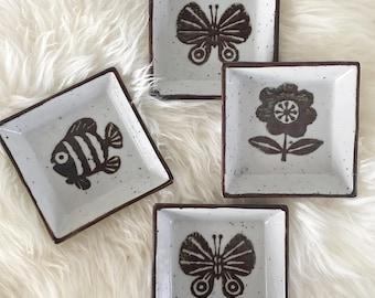 Vintage Otagiri Sauce Dish, Set of Four Japanese Ceramic Coasters, Otagiri Square Ramekin Set