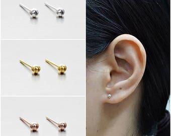 925 Sterling Silver Earrings, Ball Earrings, Dot Earrings, Gold Plated, Rose Gold Plated Earrings, Stud Earrings Size 3 mm (Code : EB75D)