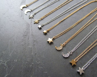 celestial necklace, celestial jewelry, moon necklace, star necklace , crescent moon necklace, half moon necklace, crescent moon gifts,