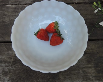 MILK GLASS Bowl Anchor Hocking Vintage White Milk Glass Bubble Pattern Fruit Bowl, Serving Bowl, Trinket Bowl Home Decor