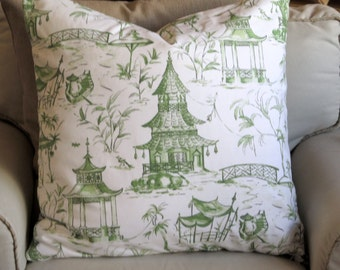 PAGODAS euro pillow cover 24x24 Jade Green on White