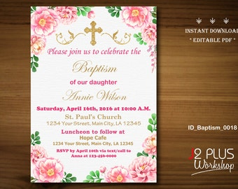 INSTANT DOWNLOAD Baptism Invitation Girl, Christening Invitation Girl, Baby Dedication Invitation, Printable, Instant Download, Editable pdf