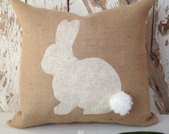 Stenciled Bunny on Burlap Pillow Cover with Yarn Pom Pom Tail